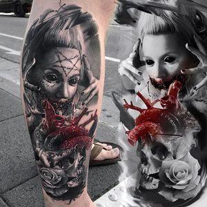 Conceptual horror tattoo by Maksims Zotovs. #MaksimsZotovs #blackandgrey #horror #macabre #sinister #evil #dark #woman #anatomicalheart #conceptual #Laky