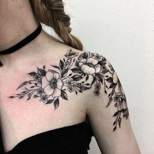 Wildflowers tattoo by Vlada Shevchenko. #VladaShevchenko #blackwork #feminine #women #floral #flower #wildflower