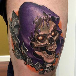 He-Man tattoo by Aaron Springs. #neotraditional #AaronSprings #skeletor #skull #He-Man #Heman #cartoon #comicbook #comics