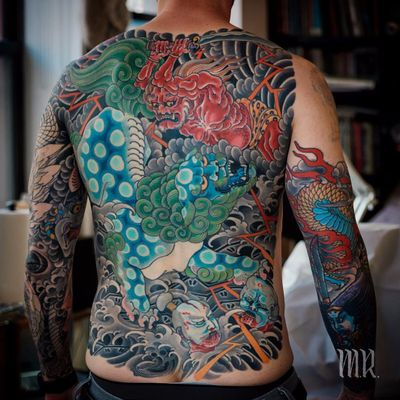 Ghosts and Deities Among the Waves by Mike Rubendall #mikerubendall #japanese #color #blackandgrey #lion #ghosts #demons #waves #clouds #dragon #scales #oni #sword #lightning #death #samurai #tattoooftheday