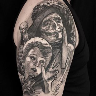 Phantom of the Opera by Mike Riina (via IG-mike_riina) #sketch #freehand #blackandgrey #illustrative #portrait #MikeRiina #phantomoftheopera #skeleton #woman