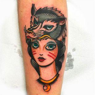 Wolfhead girl tattoo by Giuseppe Messina #Gypsy #Girl #GiuseppeMessina #wolf