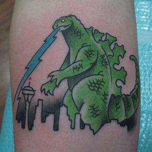 Godzilla tattoo by coffinbirth on Instagram. #Godzilla #japanese #monster #movie