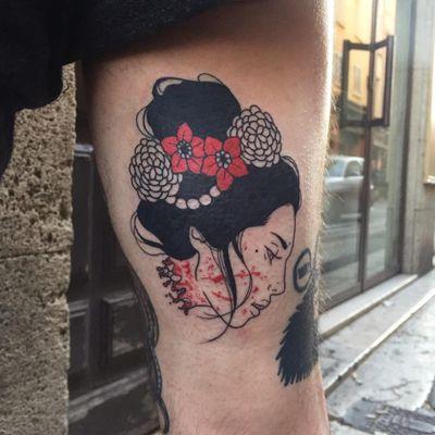 Namakubi tattoo by Silly Jane #SillyJane #blackfill #redink #blood #bloodsplatter #flowers #namakubi #linework #geisha #lady #portrait #Japanese #newtraditional #mashup #manga #graphic #darkart