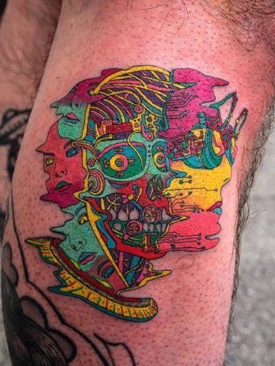Beneath the skin. Tattoo by Julian Llouve #JulianLlouve #color #linework #illustrative #surreal #cyberpunk #circuitboard #eyes #bodies #rainbow #skeleton #robot #scifi
