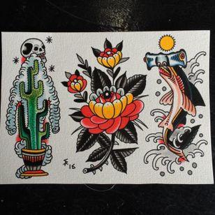 Traditional tattoo flash by Sam Ricketts, photo from Sam's Instagram. #flash #flashsheet #traditional #cactus #flower #shark