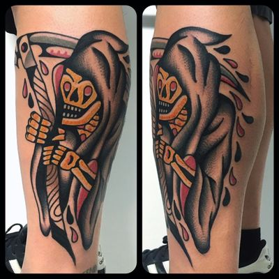 A highly stylized traditional reaper by Geno (IG—genotattoo). #Death #Geno #GrimReaper #reaper #traditional