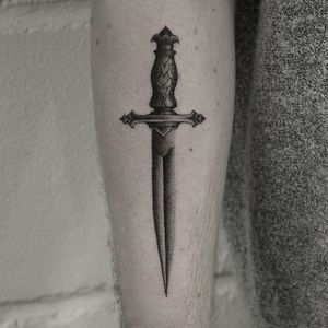 Hand poked and electric machine dagger tattoo by Oliver Whiting. #blackwork #dotwork #handpoked #dagger #OliverWhiting