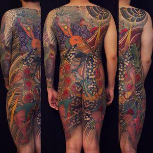 Intense Japanese style back tattoo by Jun Teppei. #junteppei #backpiece #japanesestyletattoo #horimono