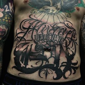 Stomach Tattoo by Vince Le #lettering #script #darklettering #letteringartist #darkartist #VinceLe