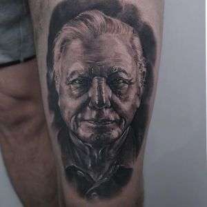 David Attenborough Tattoo by Edgar Ivanov #DavidAttenborough #BlackandGrey #BlackandGreyRealism #BlackandGreyTattoos #PortraitTattoos #Realism #EdgarIvanov