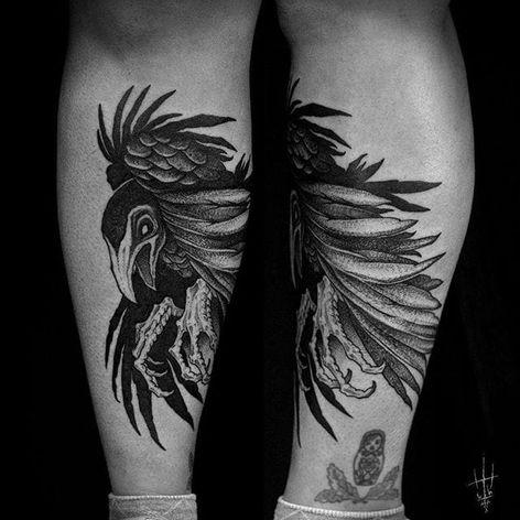 Deathly bird tattoo by Sergei Titukh. #SergeiTitukh #blackwork #creepy #nightmare #creature #spooky #dark #monster #bird