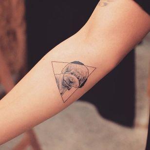 Dog tattoo by Grain. #Grain #TattooistGrain #fineline #animals #geometric #dog #pet