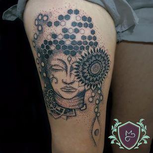 Buda em pontinhos. #AndreMelo #tatuadoresdobrasil #sketch #buda #buddha #pontilhismo #dotwork