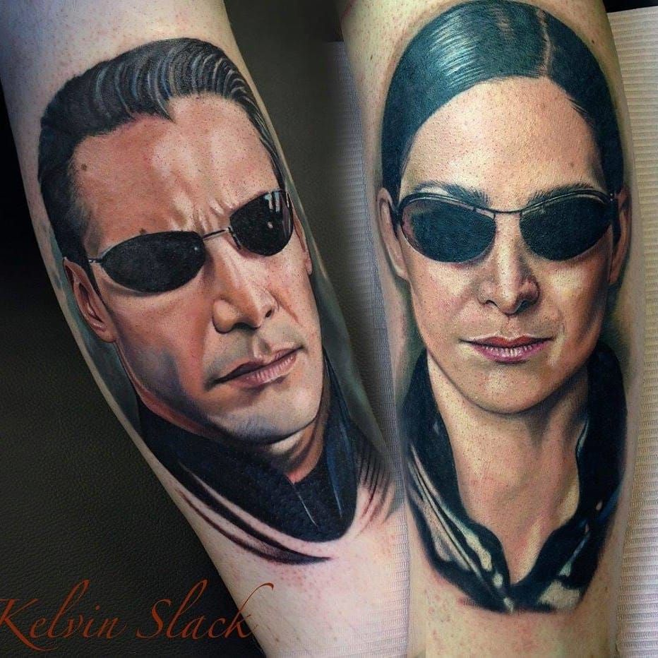 Neo e Trinity de Matrix #KelvinSlack #ClassicosDoCinema #Filmes #movies #classicmovies #cinema #matrix #neo #trinity #KeanuReeves #realismo #realism #portrait #nerd #geek #scifi #sunglasses