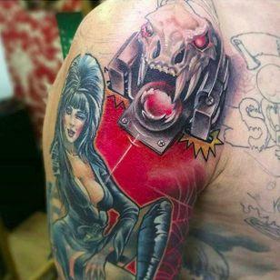 Elvira pinball tattoo (via IG -- pinballink) #pinball #pinballtattoo #elvira