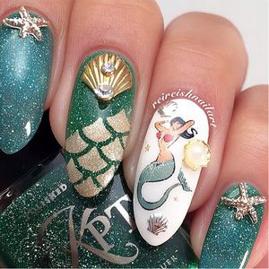 Mermaid Nail Tattoo Art by Reireish #ReireishNailart #Mermaid #NailTattoo #NailArt #NailTattoos #TattooFashion