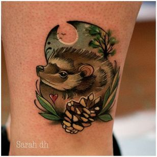 Hedgehog tattoo by Sarah Electrum. #neotraditional #hedgehog #animal #sarahelectrum