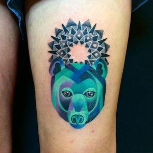 Bear Tattoo by Blayne Bius #bear #contemporary #bold #colorful #mixstyle #BlayneBius