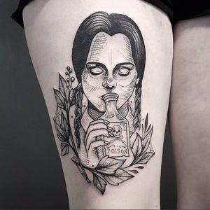 Awesome Wednesday Addams tattoo by Cutty Bage #CuttyBage #sketch #sketchstyle #blackwork #wednesdayaddams
