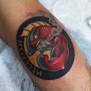 Hellfish Tattoo by @pitoris #Hellfish #HellfishTattoo #Simpsons #SimpsonsTattoos #pitoris