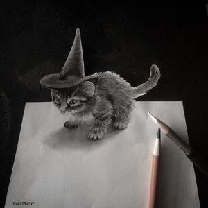 Witch Kitten by Ryan Murray (via IG-blackveiltattoo) #blackandgrey #halloween #spooky #macabre #witch #cat #RyanMurray #BlackVeilStudio