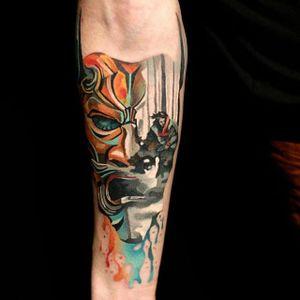 Hannya Tattoo by Martynas Šnioka #hannya #hannyatattoo #watercolor #watercolortattoo #abstract #abstracttattoo #graphic #graphictattoo #lithuanian #MartynasSnioka