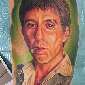 Al Pacino as Tony Montana in Scarface. Tattoo by Bryan Merck. #BryanMerck #tattoo #scarface
