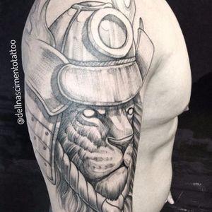 Leão guerreiro #DellNascimento #leaotattoo #leão #lion #sketch #samurai #TatuadoresDoBrasil