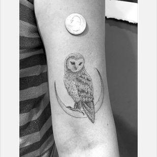 Miniature owl and moon tattoo by Daniel Winter. #singleneedle #fineline #linework #DanielWinter #owl #moon
