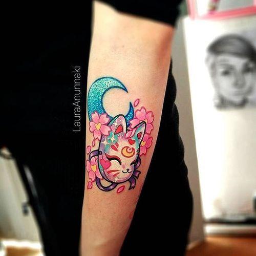 Mask tattoo by Laura Anunnaki. #LauraAnunnaki #magicalgirl #grlpwr #girlpower #magic #feminist #anime #anime #sparkly #girly #kawaii #neko #mask #japanese