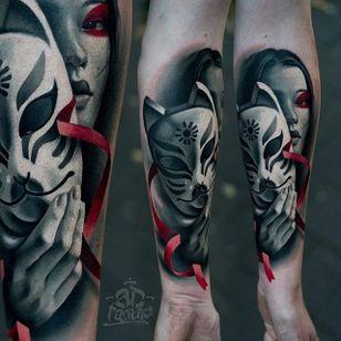 Mask Tattoo by Alex Pancho #realism #colorrealism #realistictattoo #abstractrealism #realistictattoos #AlexPancho