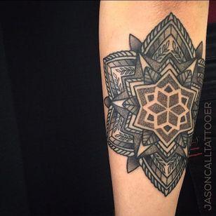 Geometric Tattoo by Jason Call #Geometric #Geometry #mandala #mandalatattoo #BlackGeometry #Dotwork #JasonCall