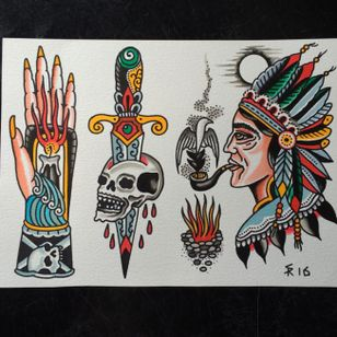 Traditional tattoo flash by Sam Ricketts, photo from Sam's Instagram. #flash #flashsheet #traditional #oldschool #skulldagger #candle #hand #fire