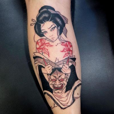 Hannya and geisha tattoo by Silly Jane #SillyJane #blackfill #illustrative #linework #hannya #mask #geisha #peonies #flowers #kimono #pattern #demon #yokai #ghost #graphic #horror #darkart