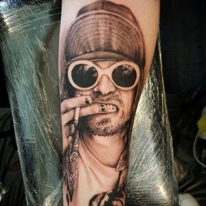 Photo from Instagram @ste_upton - Kurt Cobain tattoo by Steve Upton #SteveUpton #KurtCobain #Nirvana #LiverpoolTattooConvention