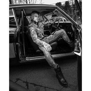 A stunning shot from legendary photographer Mike Ruiz Photo by Mike Ruiz #MarshallPerrin #tattoomodel #tattooedguys #firefighter #traditionaltattoo #tattoododudes #MikeRuiz