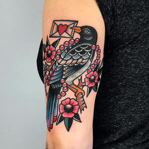 Memories by Dani Queipo #DaniQueipo #color #neotraditional #folktraditional #newtraditional #bird #feathers #wings #loveletter #pearls #flowers #leaves #branch #nature #love #heart #tattoooftheday