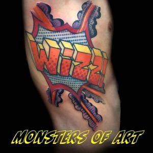 Comic lettering tattoo by Dan Gold #dangold #londonink #comicbook #nuschool #newschool #graffiti #popart (Photo: Instagram)