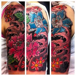 A bright and cheerful 1/2 sleeve of peonies an cherry blossoms by Rhys Gordon #RhysGordon #Japanese #traditionaljapanese #sleeve #Japanesesleeve #peony #cherryblossom