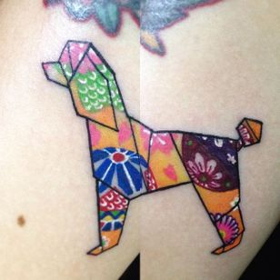 Colorful origami poodle tattoo by @nlambn. #poodle #dog #origami #nlambn