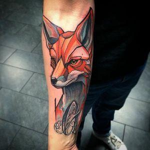 Fox tattoo by Szejn Szejnowski @szejno #fox #foxtattoo #graphic #geometric #letter #SzejnSzejnowski