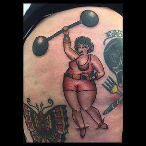 Strong Woman via instagram ohashleylove #pinup #pinupgirl #barbell #strongwoman #traditional #color #ohashleylove
