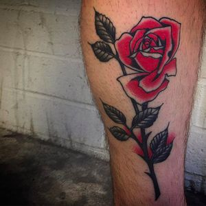 Black and red is always beautiful! Rad rose tattoo by Bradley Kinney. #bradleykinney #DanaPointTattoo #traditional #bold #red #rose #classicimage #classic