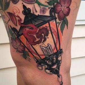 Lantern Tattoo by Matt Tischler #neotraditional #newtraditional #modern #MattTischler #lantern