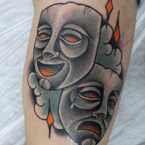 Theatre masks tattoo bt Gonzalo Tintanegra, Madrid #GonzaloTintanegra #theatremasks #drama #theatre #masks #dramamasks (Photo: Instagram)