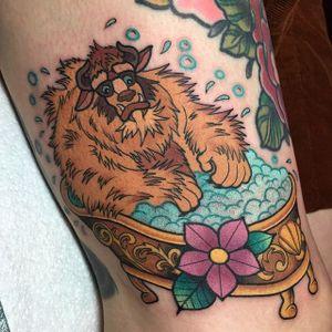 Beauty and the Beast tattoo by Alex Strangler. #beautyandthebeast #disney #fairytale #beast #bathtub #AlexStrangler
