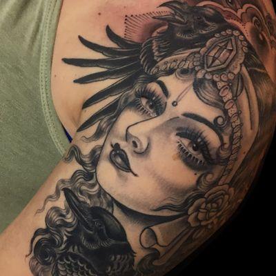 Lady head tattoo by Rose Hardy #RoseHardy #ladyheadtattoo #blackandgrey #portrait #lady #face #rose #jewels #diamons #pattern #eyes #raven #bird #wings #feather #hair #lips #neotraditional #tattoooftheday