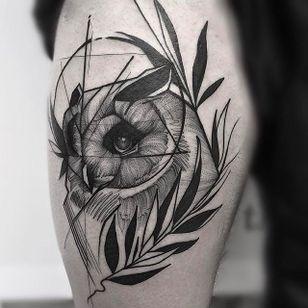Owl Chaotic Blackwork Tattoo by Frank Carrilho @FrankCarrilho #FrankCarrilhoTattoo #FrankCarrilho #Chaotic #Black #Blackwork #Owl