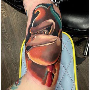 Donkey Kong Tattoo by Lee Clements #DonkeyKong #gorilla #monkey #Nintendo #Gaming #LeeClements